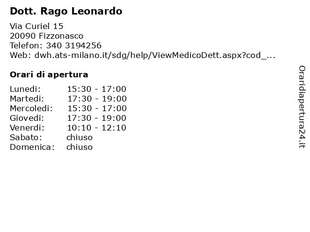 Dott. Rago Leonardo a Fizzonasco: indirizzo e orari di apertura