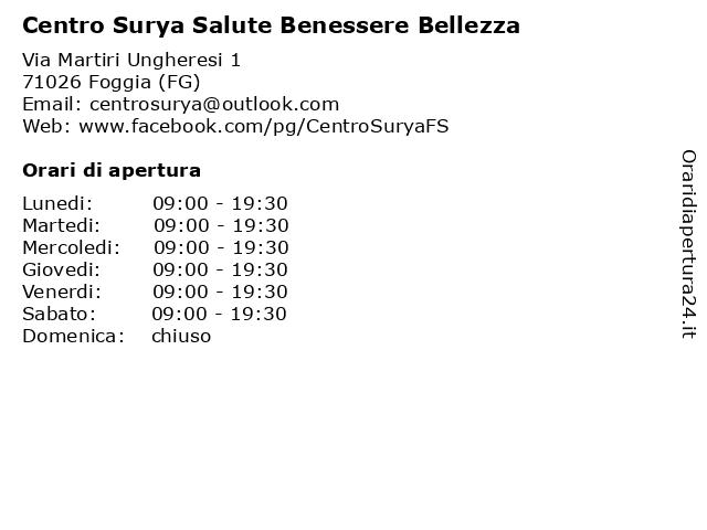 Á… Orari Centro Surya Salute Benessere Bellezza Via Martiri Ungheresi 1 71026 Foggia Fg