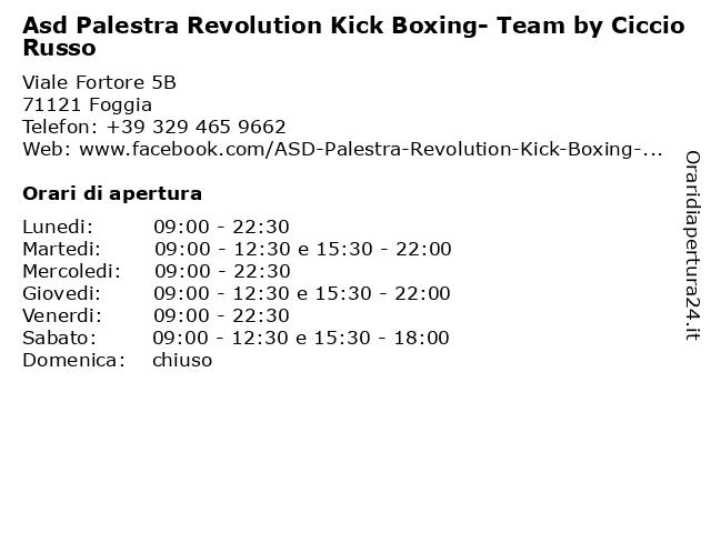 Á… Orari Asd Palestra Revolution Kick Boxing Team By Ciccio Russo Viale Fortore 5b 71121 Foggia
