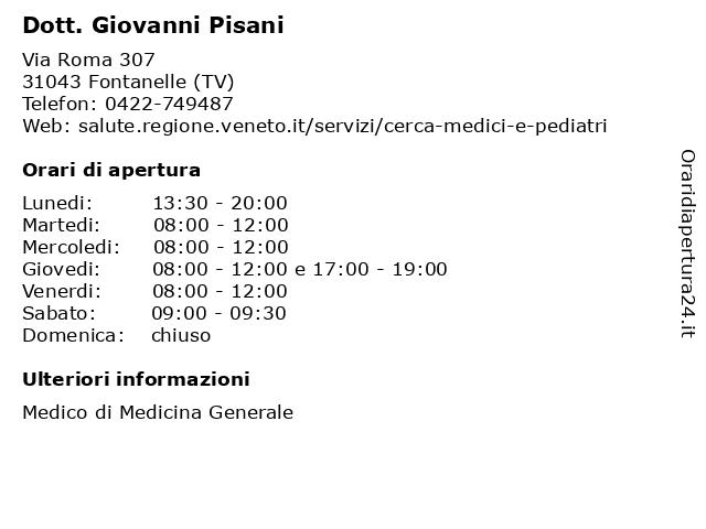 Dott. Giovanni Pisani a Fontanelle (TV): indirizzo e orari di apertura