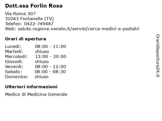 Dott.ssa Forlin Rosa a Fontanelle (TV): indirizzo e orari di apertura