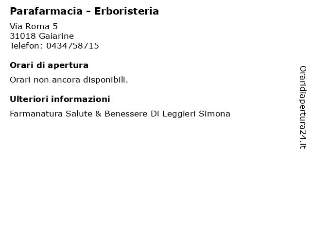 Á… Orari Parafarmacia Erboristeria Via Roma 5 31018 Gaiarine