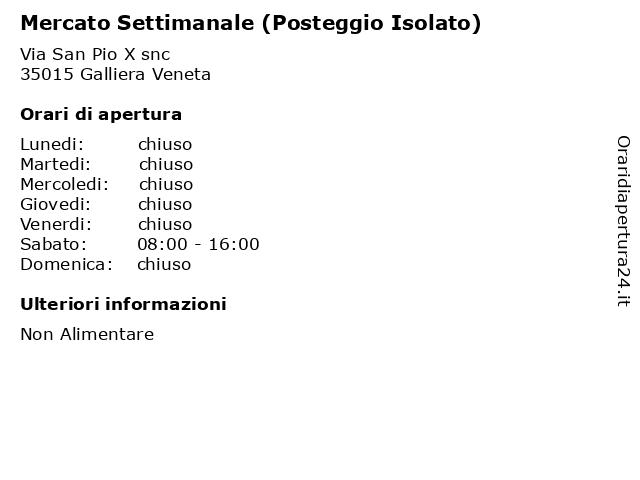 Mercato Settimanale (Posteggio Isolato) a Galliera Veneta: indirizzo e orari di apertura