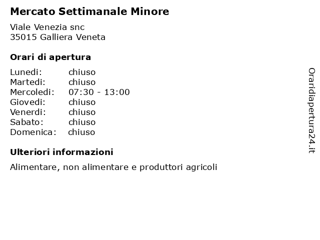 Mercato Settimanale Minore a Galliera Veneta: indirizzo e orari di apertura