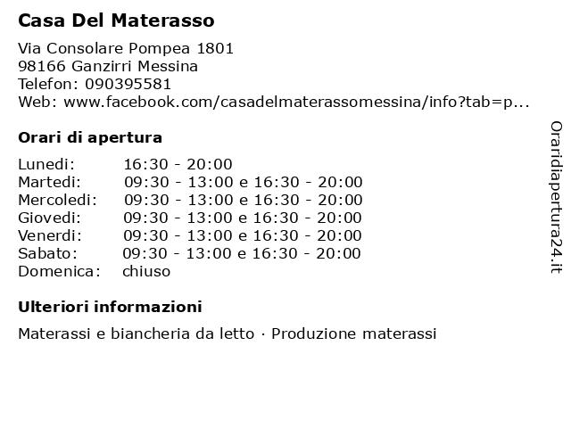 Casa Del Materasso a Ganzirri Messina: indirizzo e orari di apertura