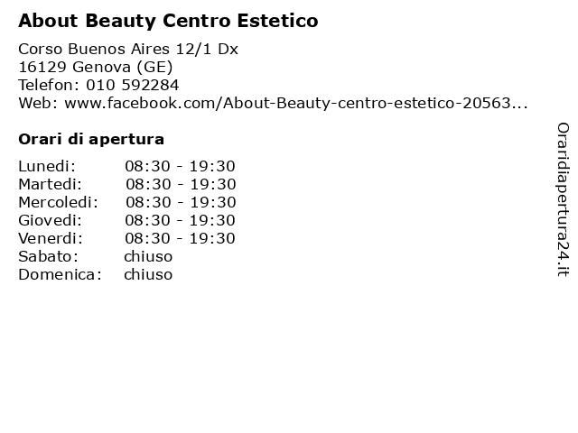 About Beauty Centro Estetico a Genova (GE): indirizzo e orari di apertura