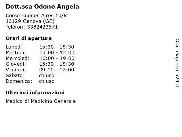 Dott.ssa Odone Angela a Genova (GE): indirizzo e orari di apertura