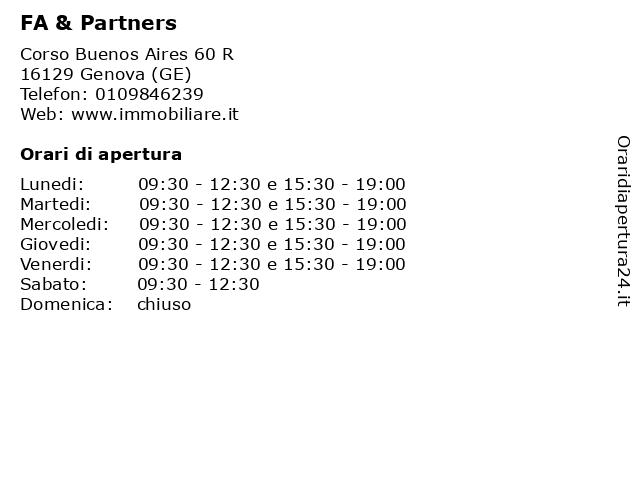 FA & Partners a Genova (GE): indirizzo e orari di apertura