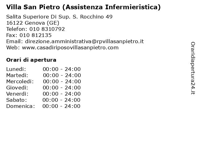 Villa San Pietro (Assistenza Infermieristica) a Genova (GE): indirizzo e orari di apertura