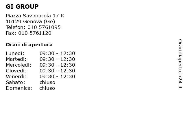 GI GROUP a Genova (Ge): indirizzo e orari di apertura