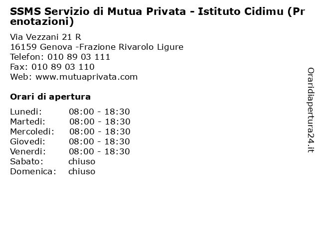 SSMS Servizio di Mutua Privata - Istituto Cidimu (Prenotazioni) a Genova -Frazione Rivarolo Ligure: indirizzo e orari di apertura