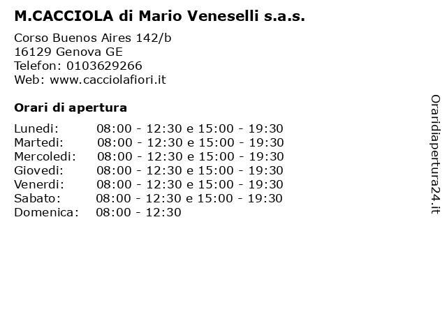 M.CACCIOLA di Mario Veneselli s.a.s. a Genova GE: indirizzo e orari di apertura