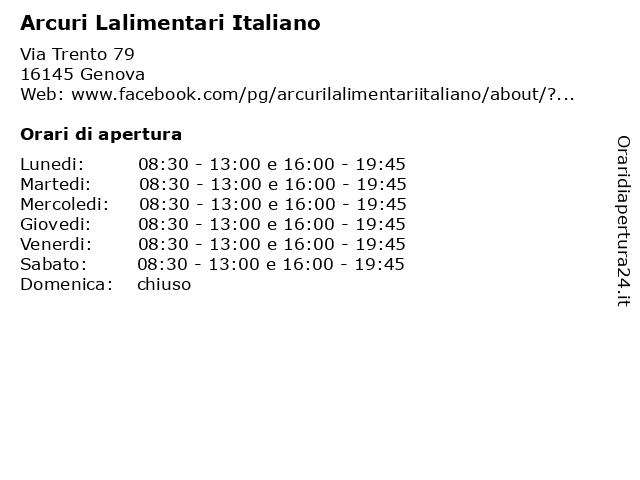 Arcuri Lalimentari Italiano a Genova: indirizzo e orari di apertura