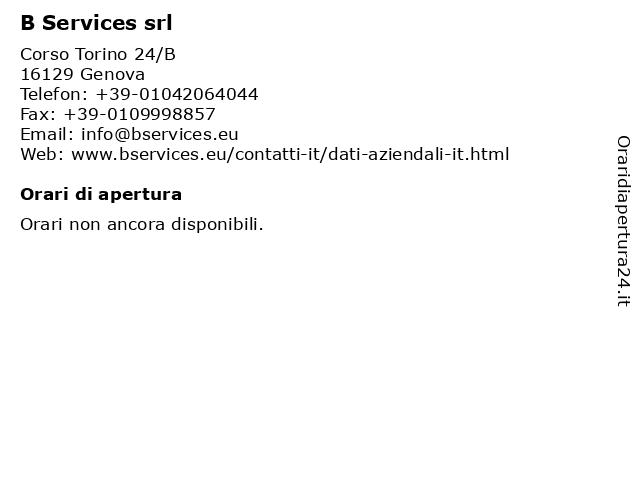 B Services srl a Genova: indirizzo e orari di apertura