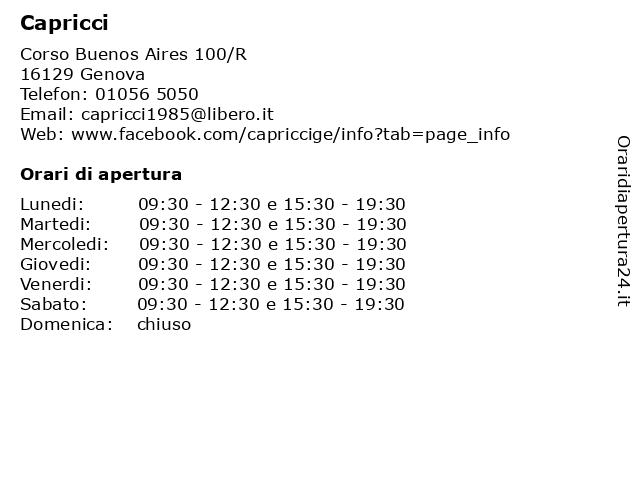 Capricci a Genova: indirizzo e orari di apertura