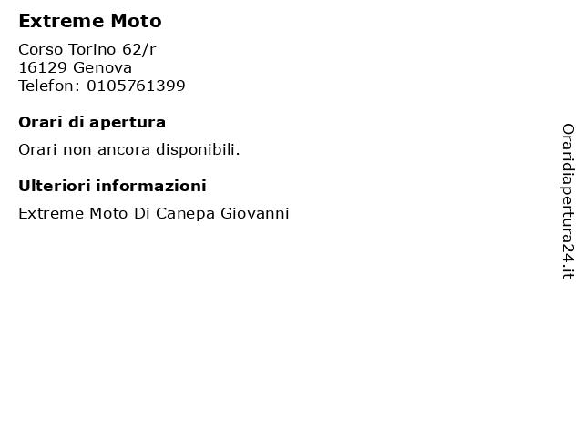 Extreme Moto a Genova: indirizzo e orari di apertura