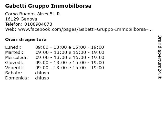 Gabetti Gruppo Immobilborsa a Genova: indirizzo e orari di apertura