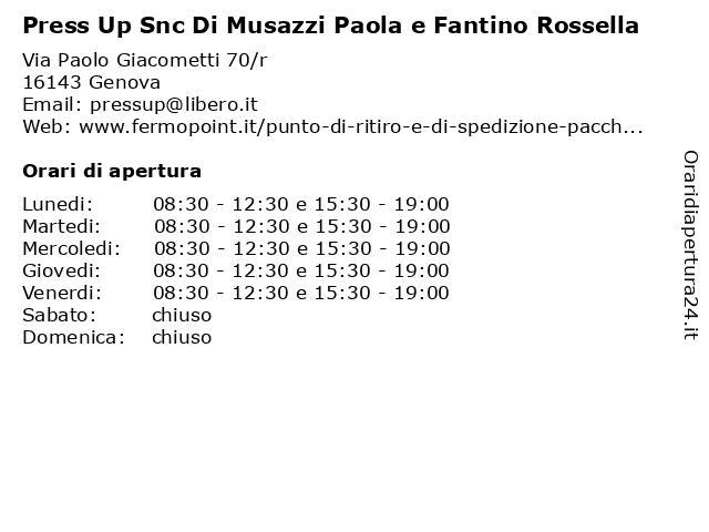 Press Up Snc Di Musazzi Paola e Fantino Rossella a Genova: indirizzo e orari di apertura