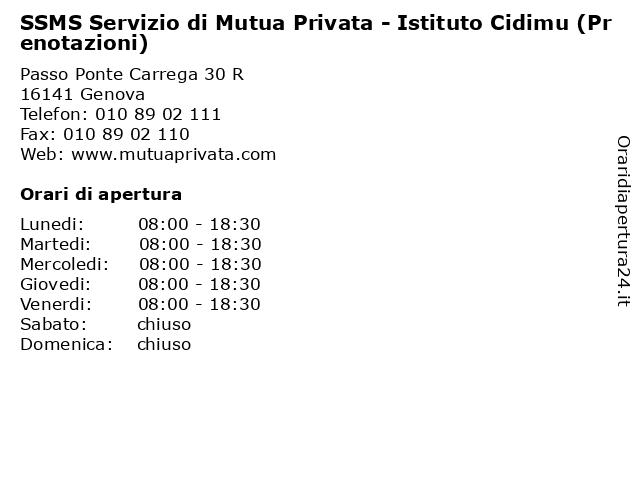 SSMS Servizio di Mutua Privata - Istituto Cidimu (Prenotazioni) a Genova: indirizzo e orari di apertura