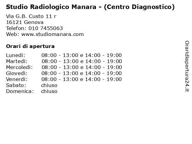 Studio Radiologico Manara - (Centro Diagnostico) a Genova: indirizzo e orari di apertura