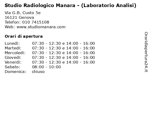 Studio Radiologico Manara - (Laboratorio Analisi) a Genova: indirizzo e orari di apertura