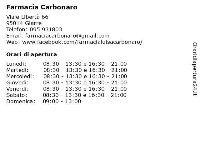 Á… Orari Farmacia Carbonaro Viale Liberta 66 95014 Giarre