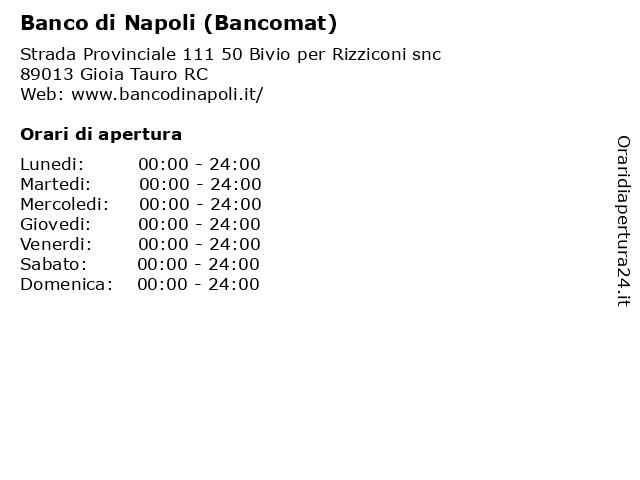 Banco di Napoli (Bancomat) a Gioia Tauro RC: indirizzo e orari di apertura