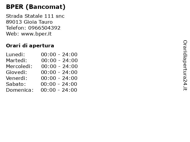 BPER (Bancomat) a Gioia Tauro: indirizzo e orari di apertura