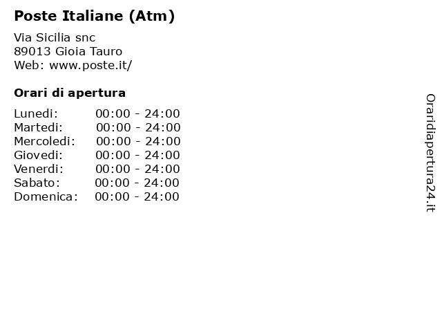 Poste Italiane (Atm) a Gioia Tauro: indirizzo e orari di apertura