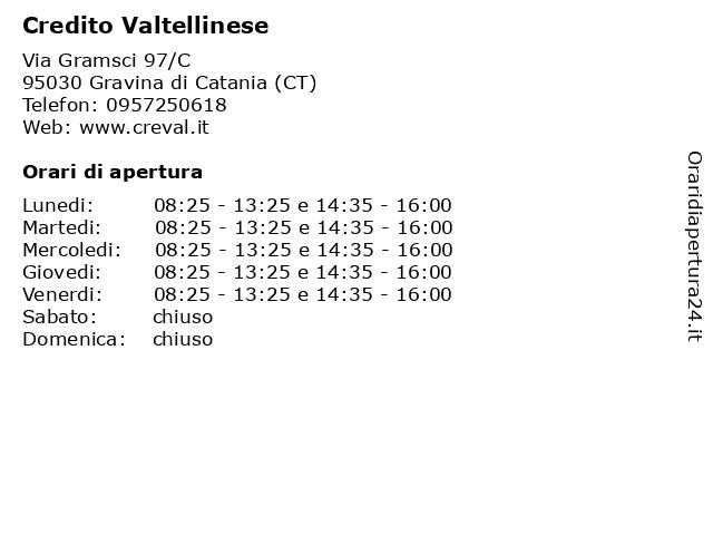 Credito Valtellinese a Gravina di Catania (CT): indirizzo e orari di apertura