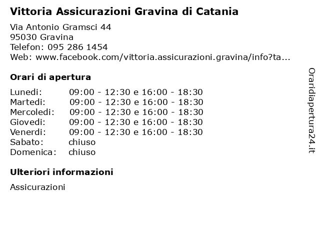 Vittoria Assicurazioni Gravina di Catania a Gravina: indirizzo e orari di apertura