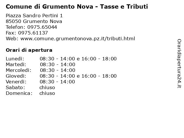 Comune di Grumento Nova - Tasse e Tributi a Grumento Nova: indirizzo e orari di apertura