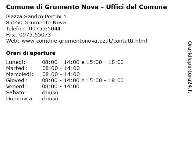 Comune di Grumento Nova - Uffici del Comune a Grumento Nova: indirizzo e orari di apertura