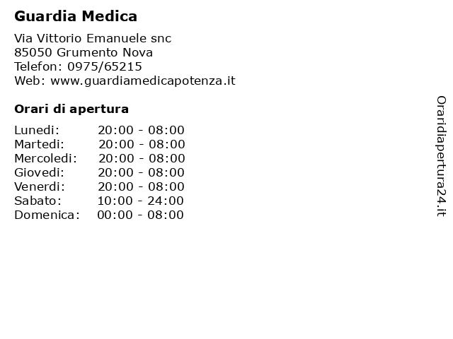 Guardia Medica a Grumento Nova: indirizzo e orari di apertura