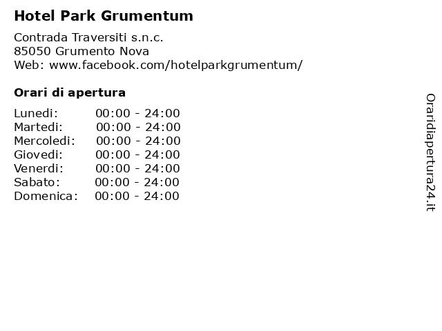 Hotel Park Grumentum a Grumento Nova: indirizzo e orari di apertura