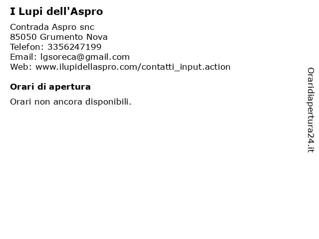 I Lupi dell'Aspro a Grumento Nova: indirizzo e orari di apertura