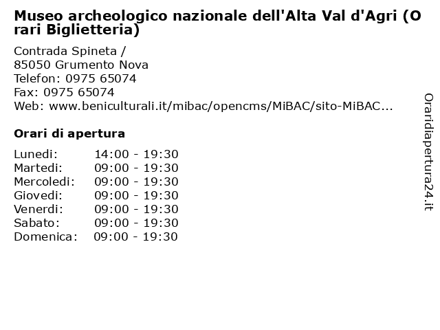 Museo archeologico nazionale dell'Alta Val d'Agri (Orari Biglietteria) a Grumento Nova: indirizzo e orari di apertura