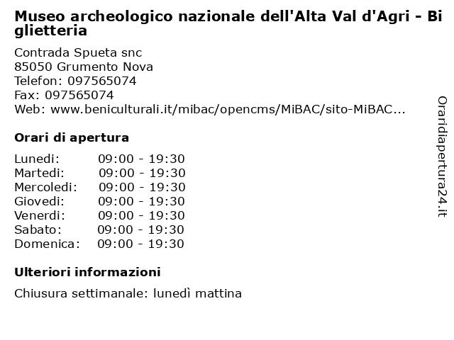 Museo archeologico nazionale dell'Alta Val d'Agri - Biglietteria a Grumento Nova: indirizzo e orari di apertura