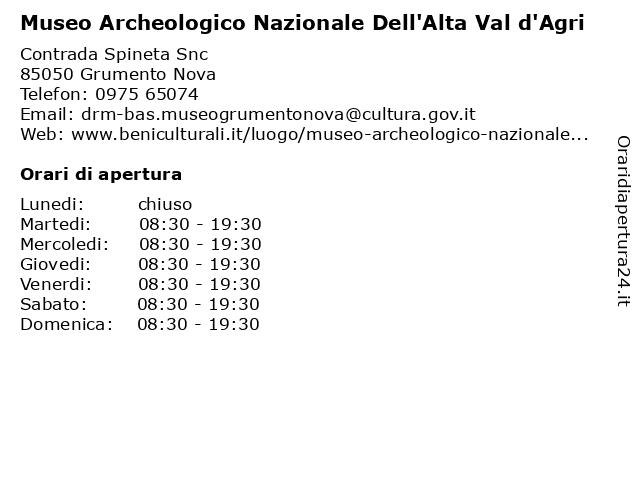 Museo archeologico nazionale dell'Alta Val d'Agri a Grumento Nova: indirizzo e orari di apertura