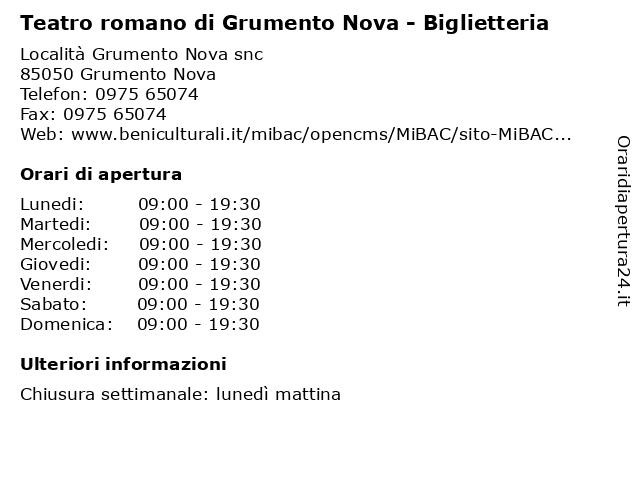 Teatro romano di Grumento Nova - Biglietteria a Grumento Nova: indirizzo e orari di apertura