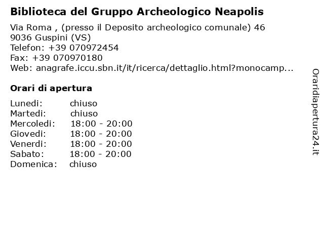 Biblioteca del Gruppo Archeologico Neapolis a Guspini (VS): indirizzo e orari di apertura