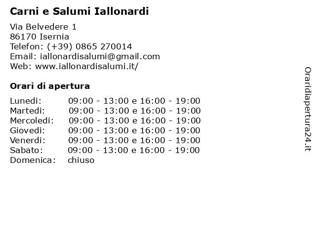 Carni e Salumi Iallonardi a Isernia: indirizzo e orari di apertura