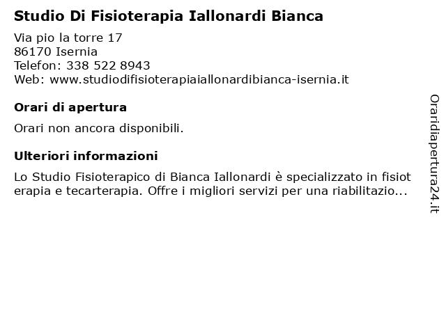 Studio Di Fisioterapia Iallonardi Bianca a Isernia: indirizzo e orari di apertura