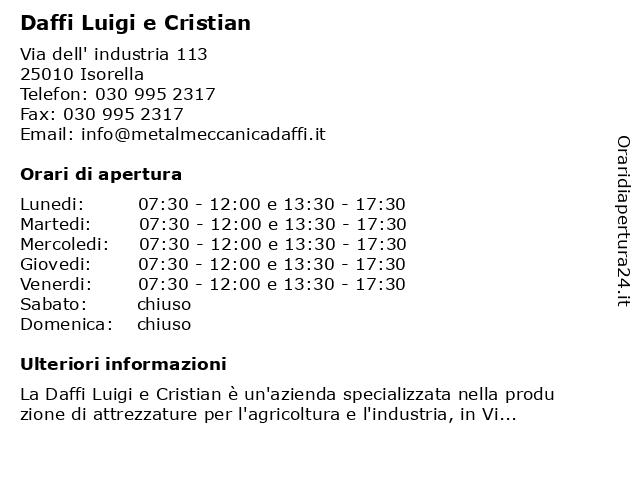 Daffi Luigi e Cristian a Isorella: indirizzo e orari di apertura