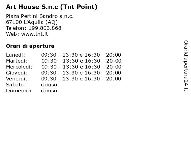 Art House S.n.c (Tnt Point) a L'Aquila (AQ): indirizzo e orari di apertura