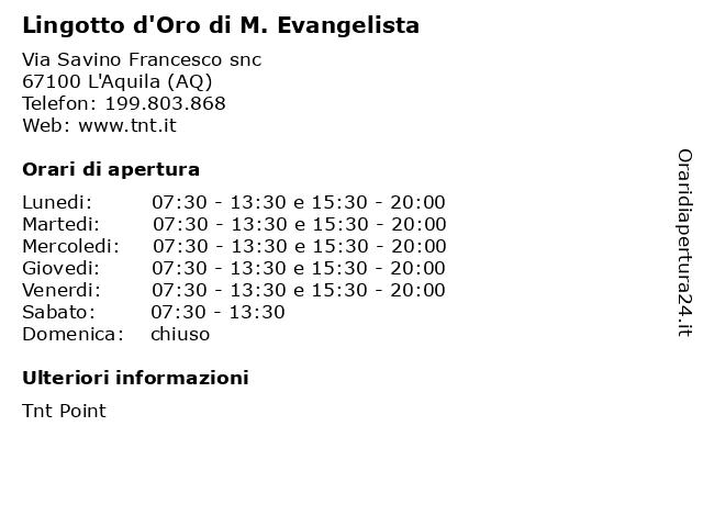 Lingotto d'Oro di M. Evangelista a L'Aquila (AQ): indirizzo e orari di apertura