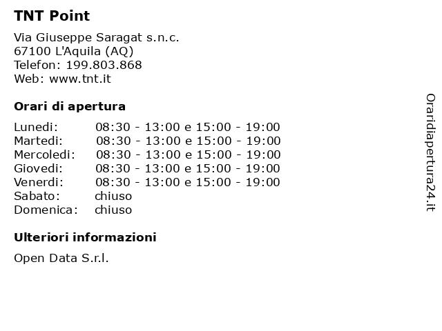 TNT Point a L'Aquila (AQ): indirizzo e orari di apertura