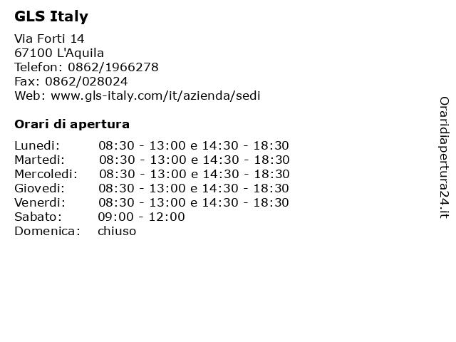 GLS Italy a L'Aquila: indirizzo e orari di apertura