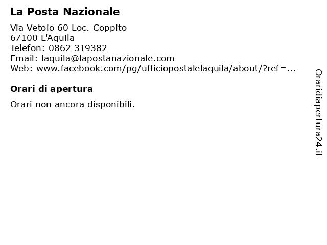 La Posta Nazionale a L'Aquila: indirizzo e orari di apertura