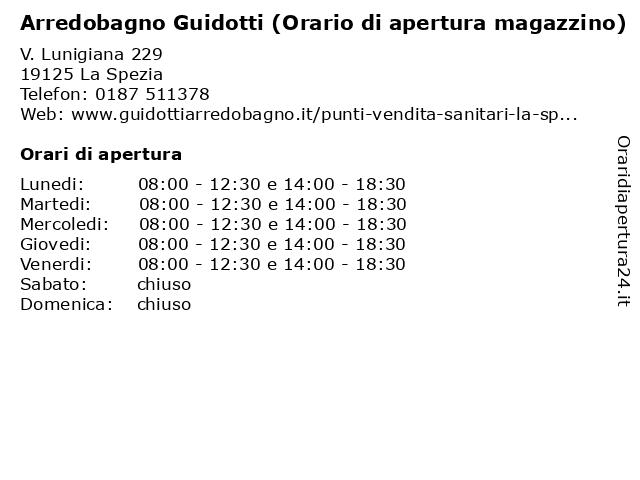 Guidotti Arredobagno La Spezia.ᐅ Orari Arredobagno Guidotti Orario Di Apertura Magazzino V Lunigiana 229 19125 La Spezia